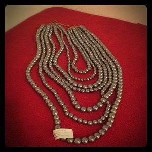 Multi-strand pearl necklace- Grey
